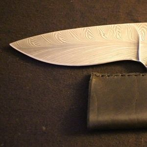Damascus Steel, Sterling and 14k Gold Fixed Blade